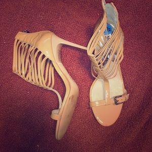 MK Beige zip closure cage heels size 7.5